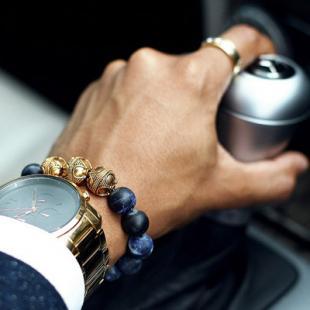 Aurum Brothers Premium Gold Matte Sodalite Bracelet