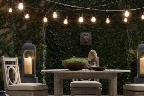 Guirlande lumineuse vintage sign e restoration hardware for Guirlande exterieur terrasse
